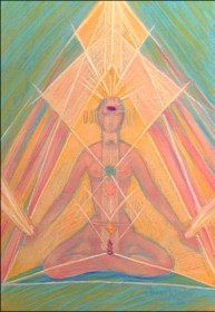 """Meditation the crystal stuctures"" pastel painting"