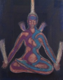 """Meditation on the left and right"" -  pastel painting"
