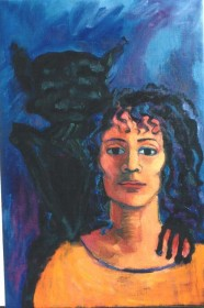 Self with gargoyle - oil painting