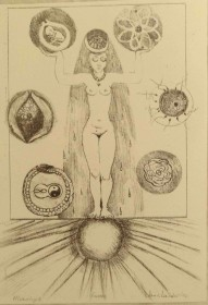 Goddess 1 - acetate drypoint $300 (unframed H 16.5in x W 9.5in)