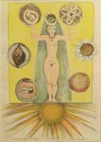 Goddess 2 (hand coloured acetate drypoint) $350  (unframed H 16.5in x W 9.5in)