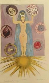 Goddess 3 (handcoloured acetate drypoint) $350.00 (Unframed - H 16.5in x W 9.5in)